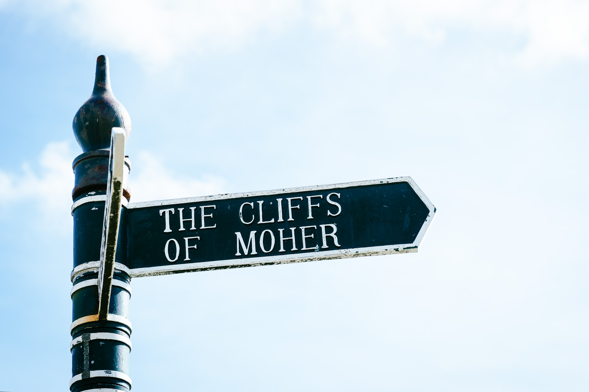 signpost at the Cliffs of Moher Ireland