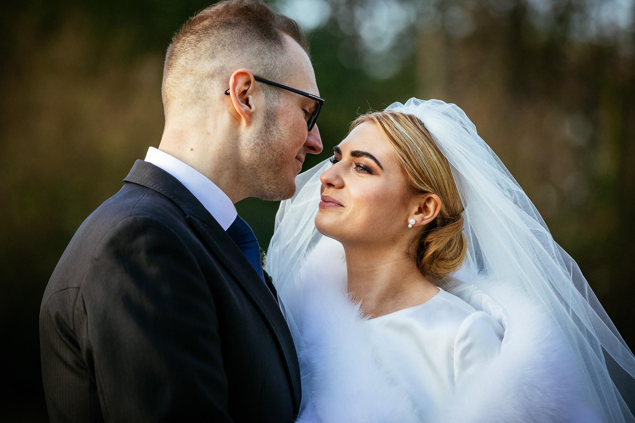 bride and groom having a momnet at Virginia Park Lodge wedding