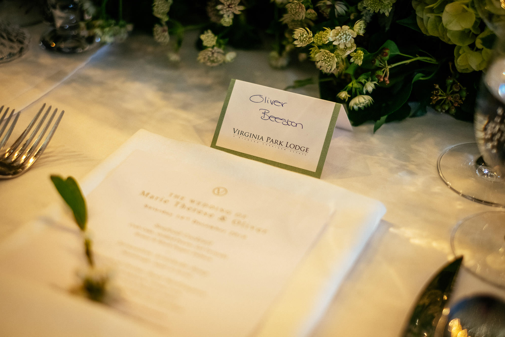 table napkin at Virginia Park Lodge wedding