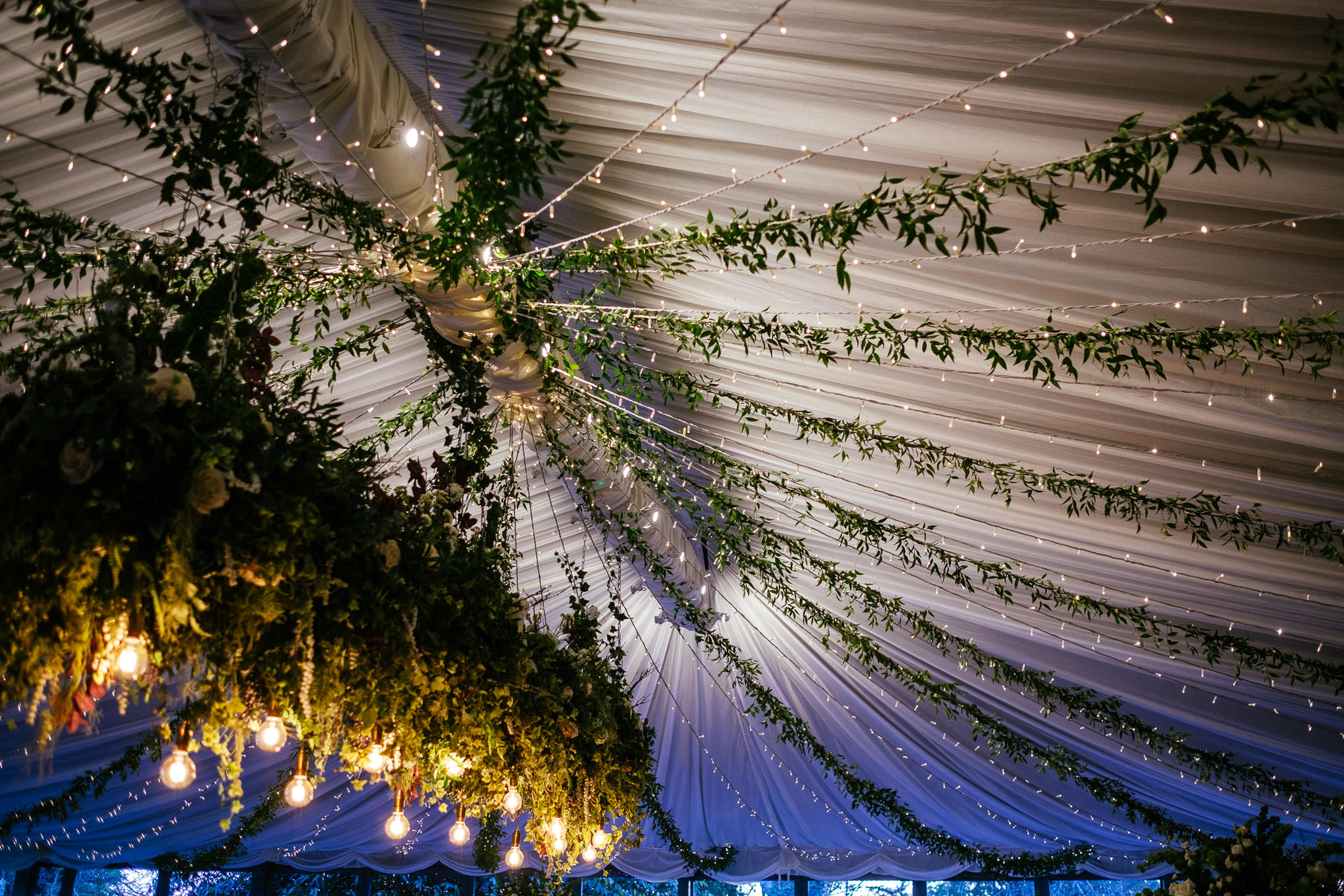 ceiling with flowers at Virginia Park Lodge wedding