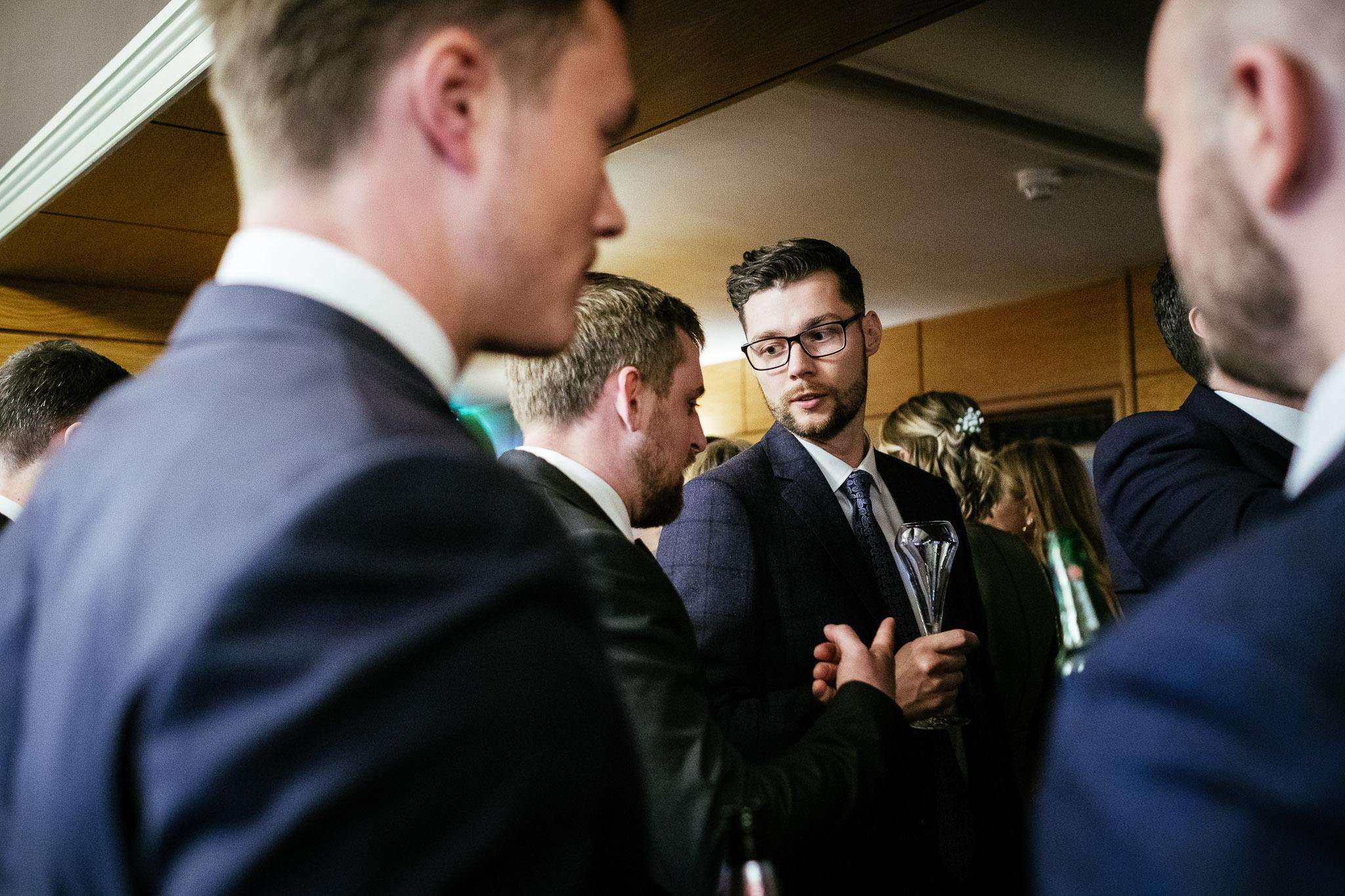 guests talking at Virginia Park Lodge wedding