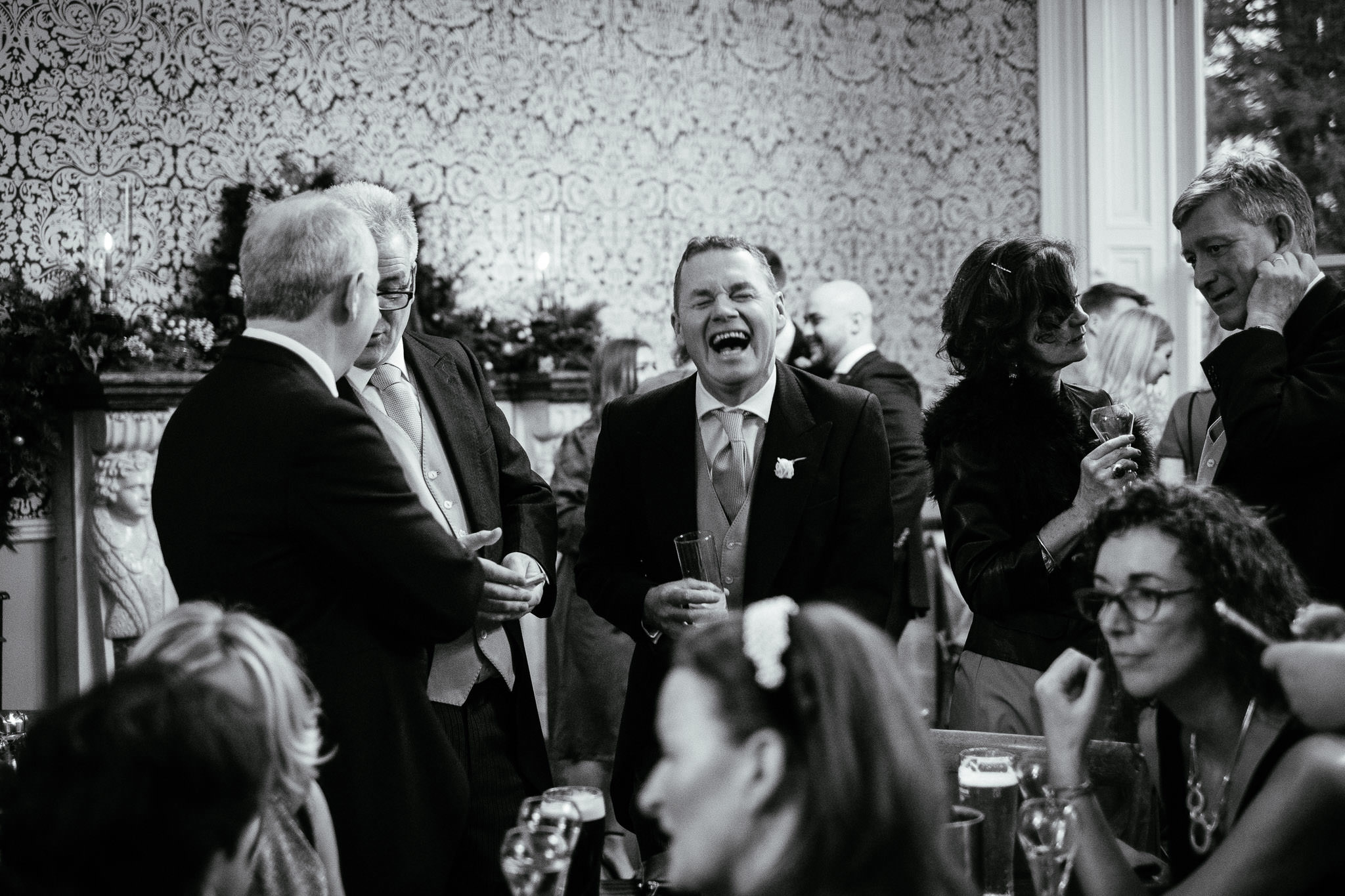 guest laughing at Virginia Park Lodge wedding