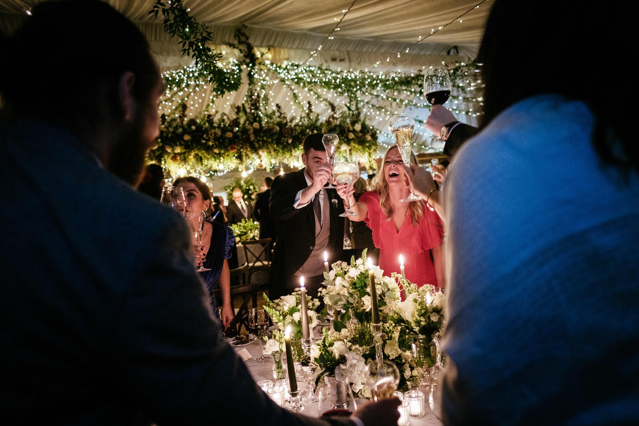toasting a speech at Virginia Park Lodge wedding