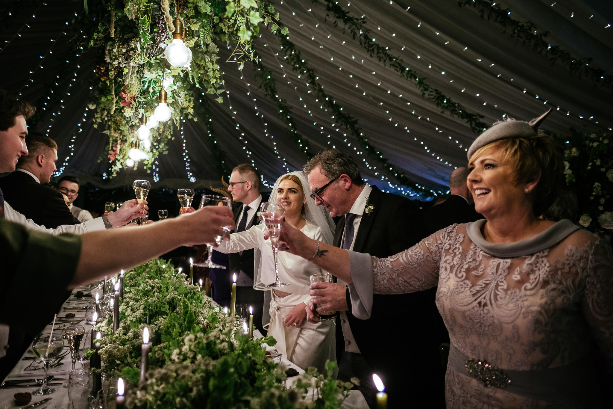 guests celebrating during speeches at Virginia Park Lodge wedding