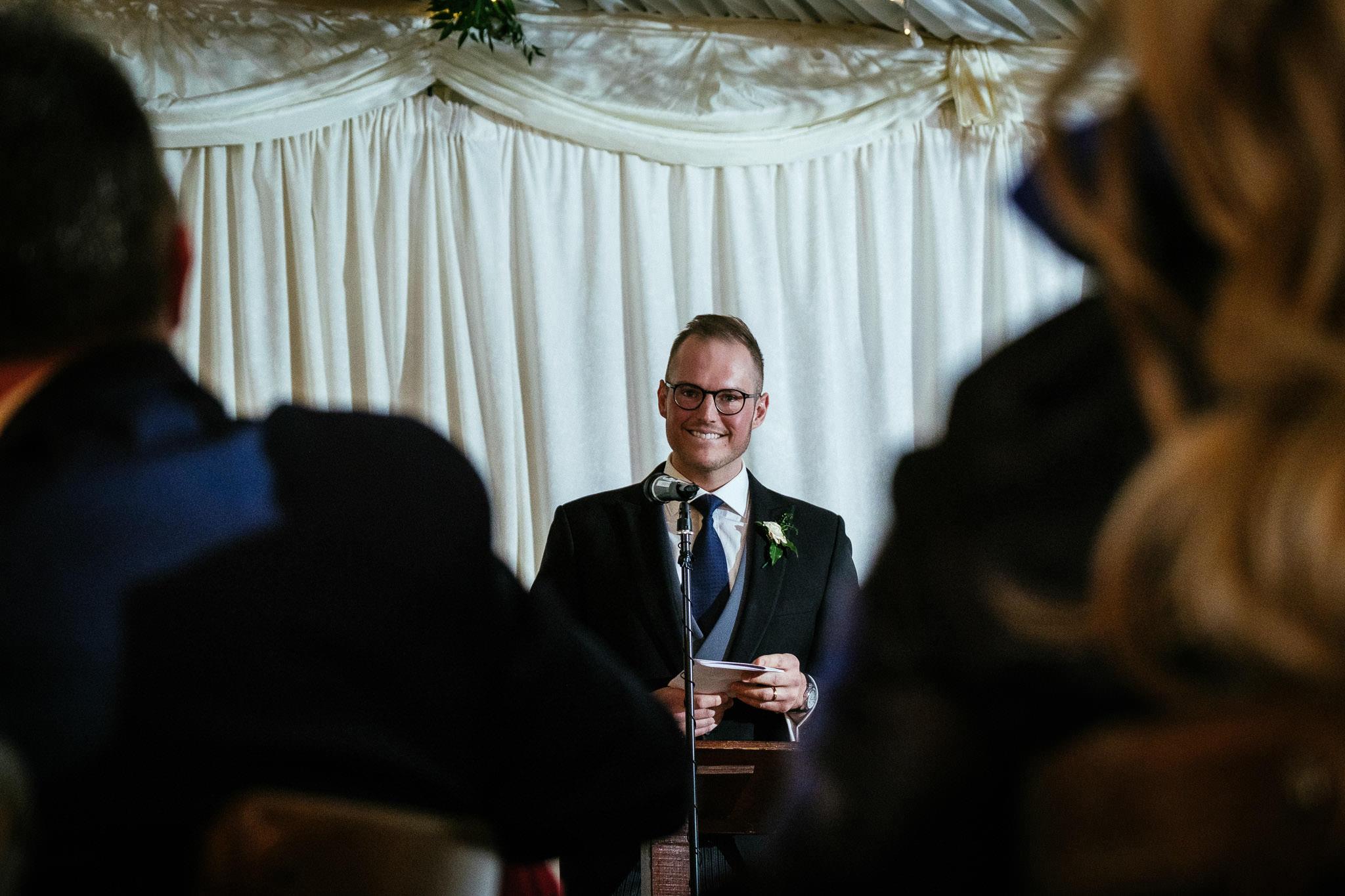 groom making a speech at Virginia Park Lodge wedding