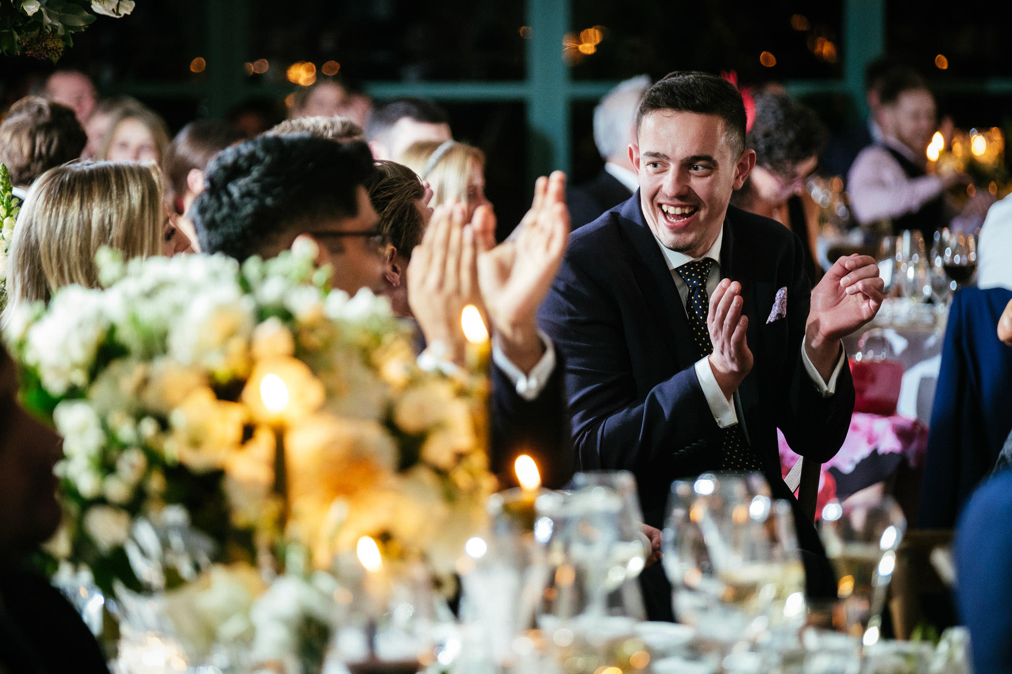guests clapping during speeches at Virginia Park Lodge wedding