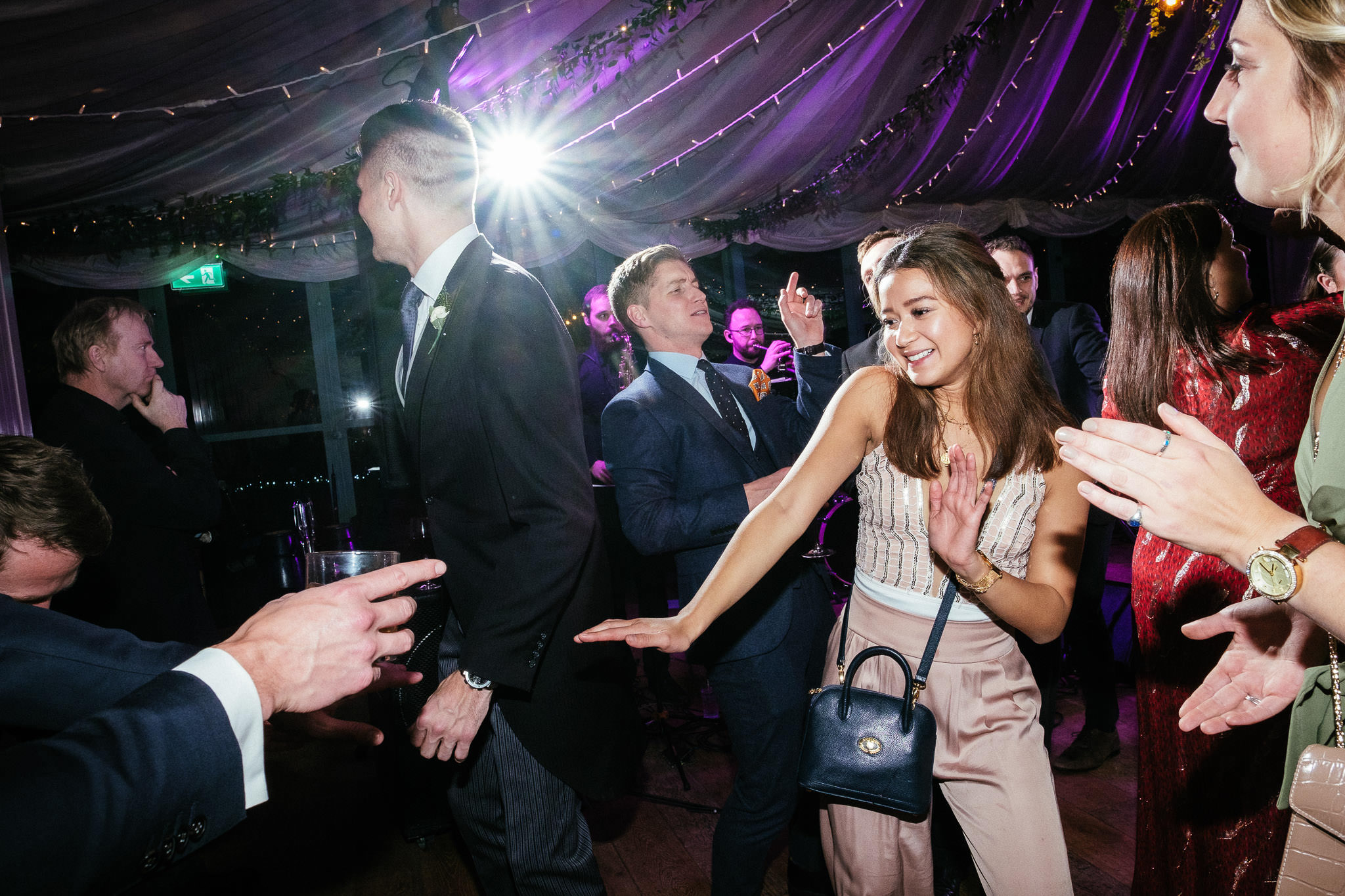 female guest dancing at Virginia Park Lodge wedding