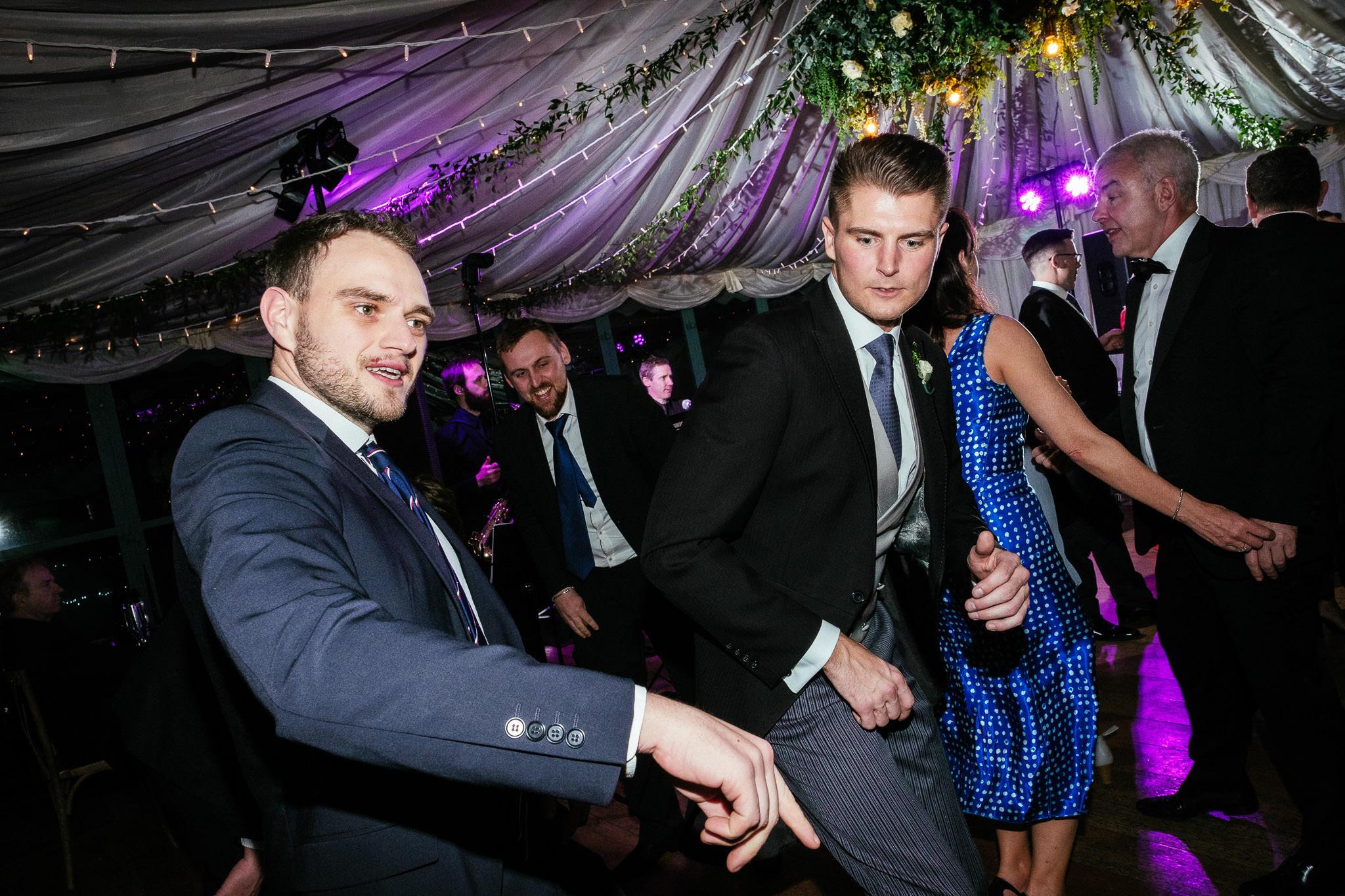 groomsmen dancing at Virginia Park Lodge wedding