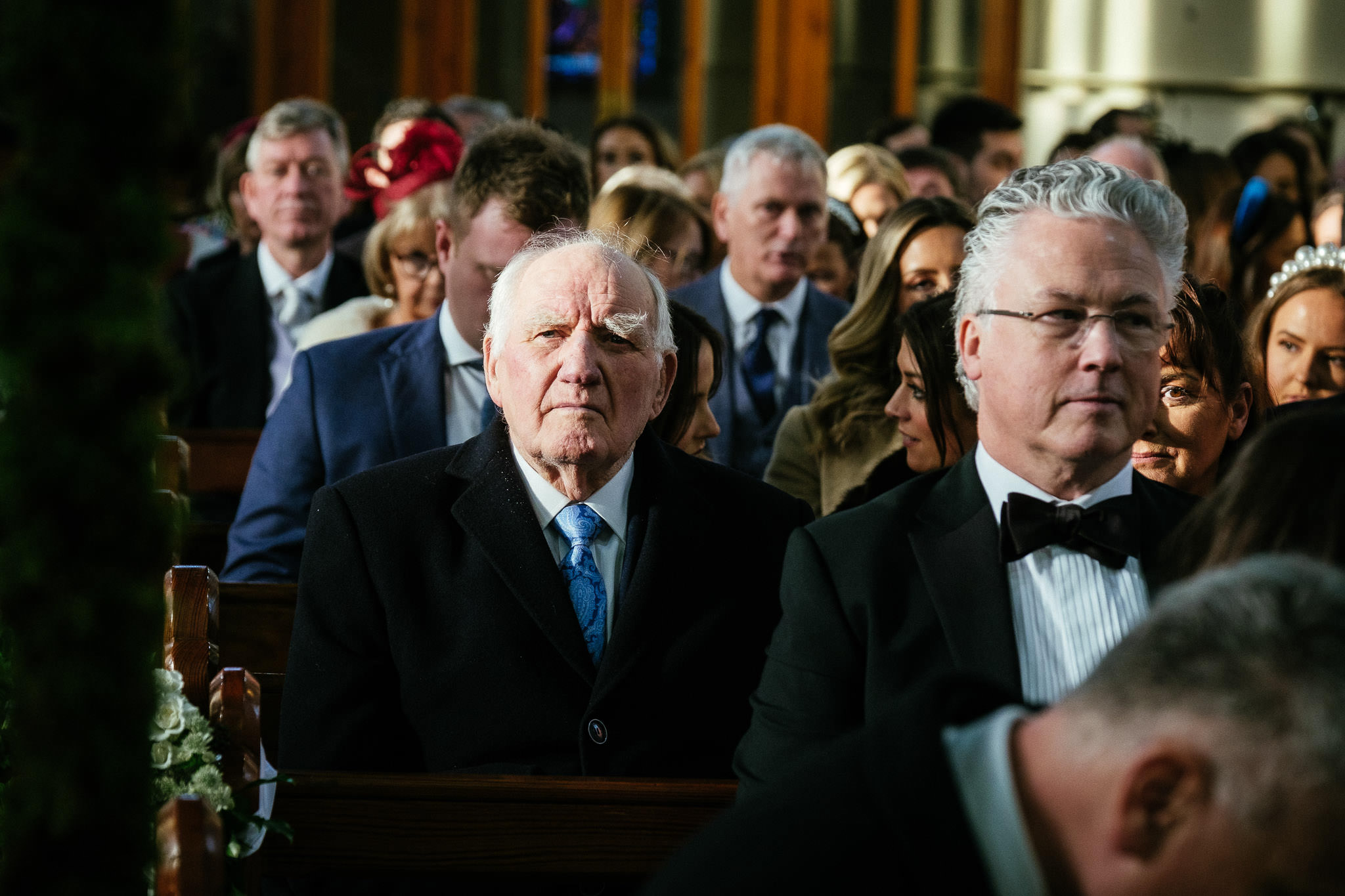 grandfather of bride waiting in church