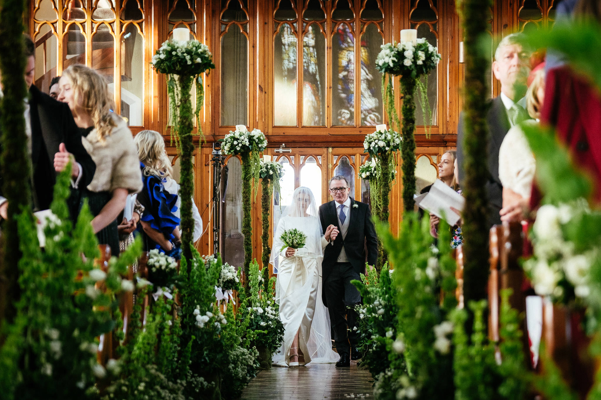 bride walking up aisle with her father at St Brigid's Church Oldcastle
