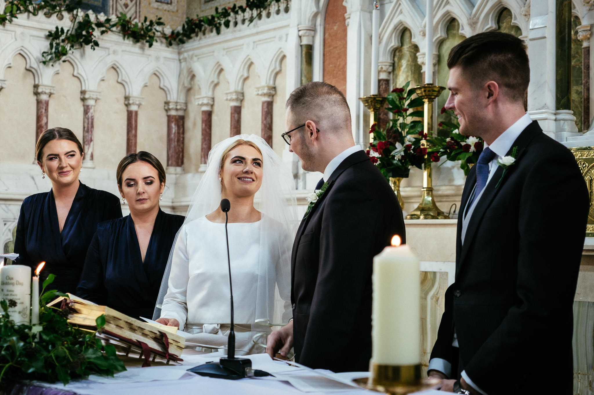 exchanging of vows during wedding ceremony at St Brigid's Church Oldcastle
