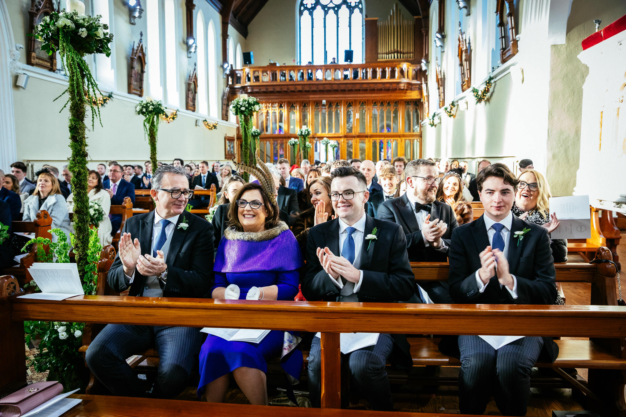 brides family during wedding ceremony at St Brigid's Church Oldcastle