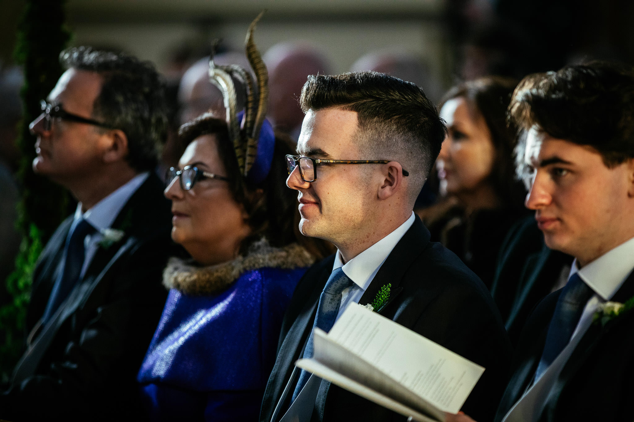 brother of bride smiling during wedding ceremony at St Brigid's Church Oldcastle