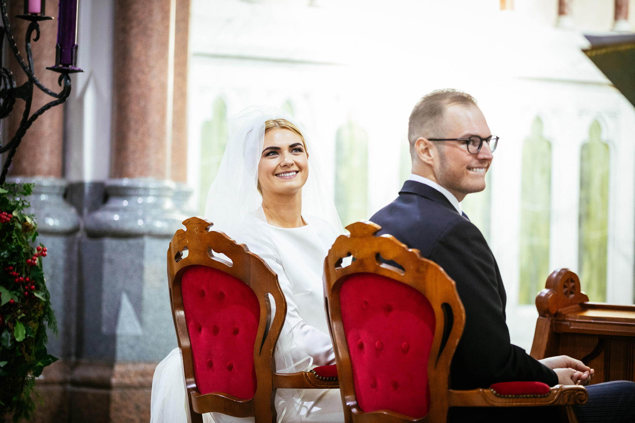 bride smiling during wedding ceremony at St Brigid's Church Oldcastle