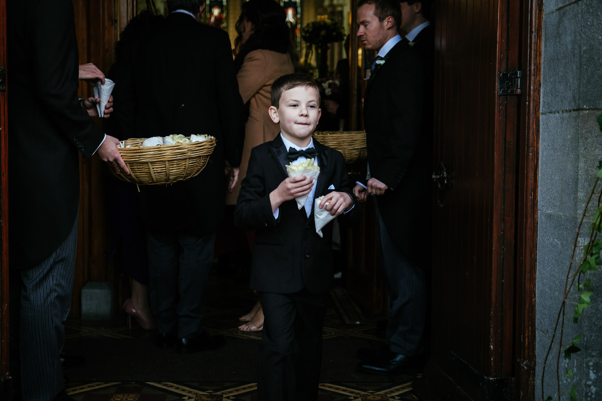 small boy after a wedding ceremony at St Brigid's Church Oldcastle