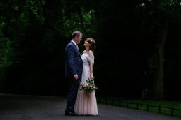 bride and groom looking at each other in St Stephens Green