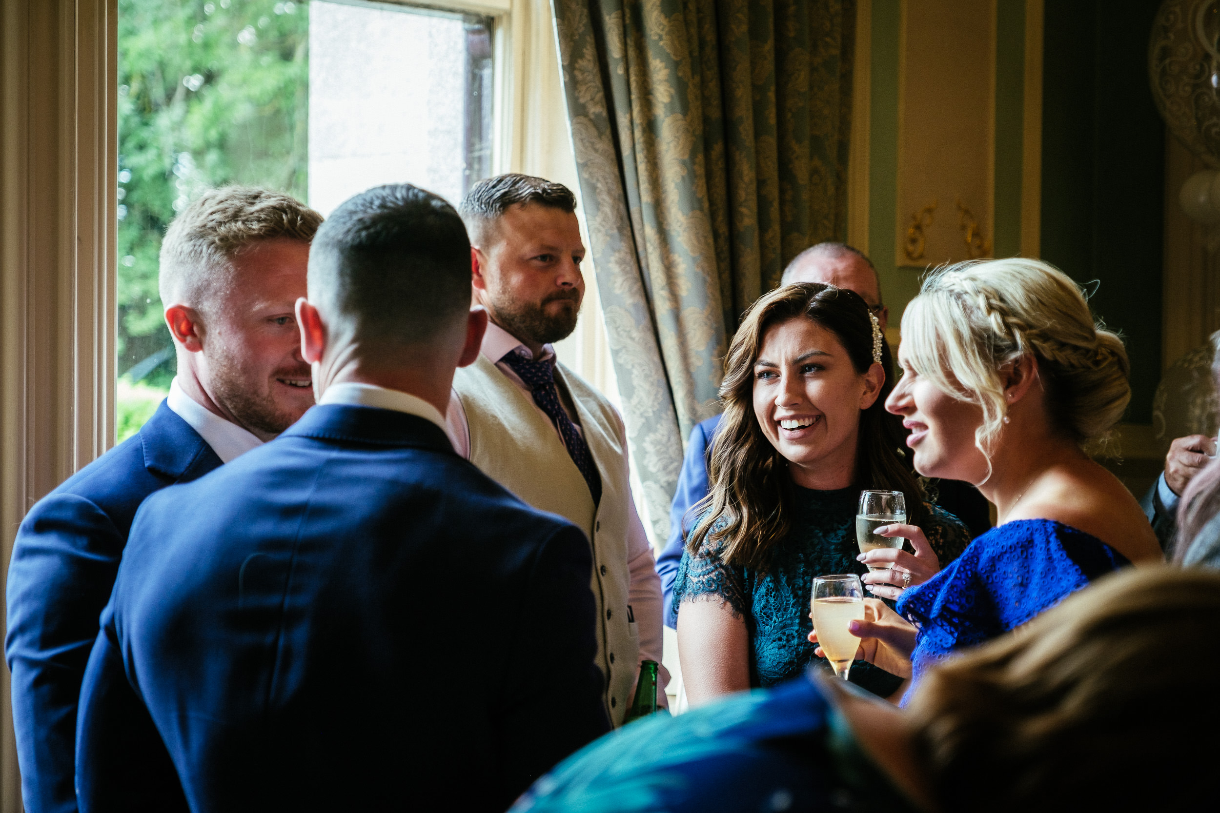 wedding guests laughing at a killashee house hotel wedding