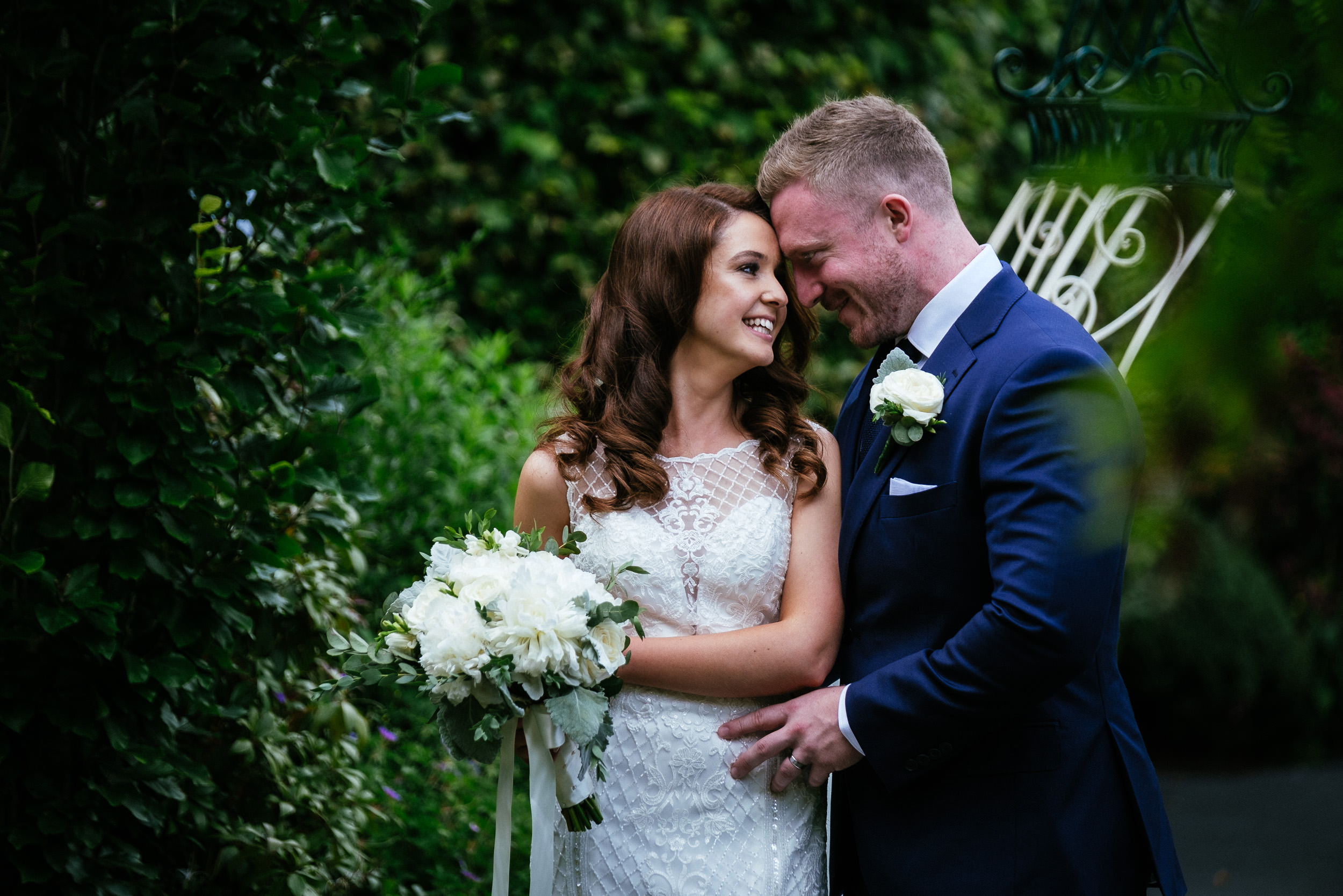 bride and groom in the butterfly garden at killashee house hotel wedding