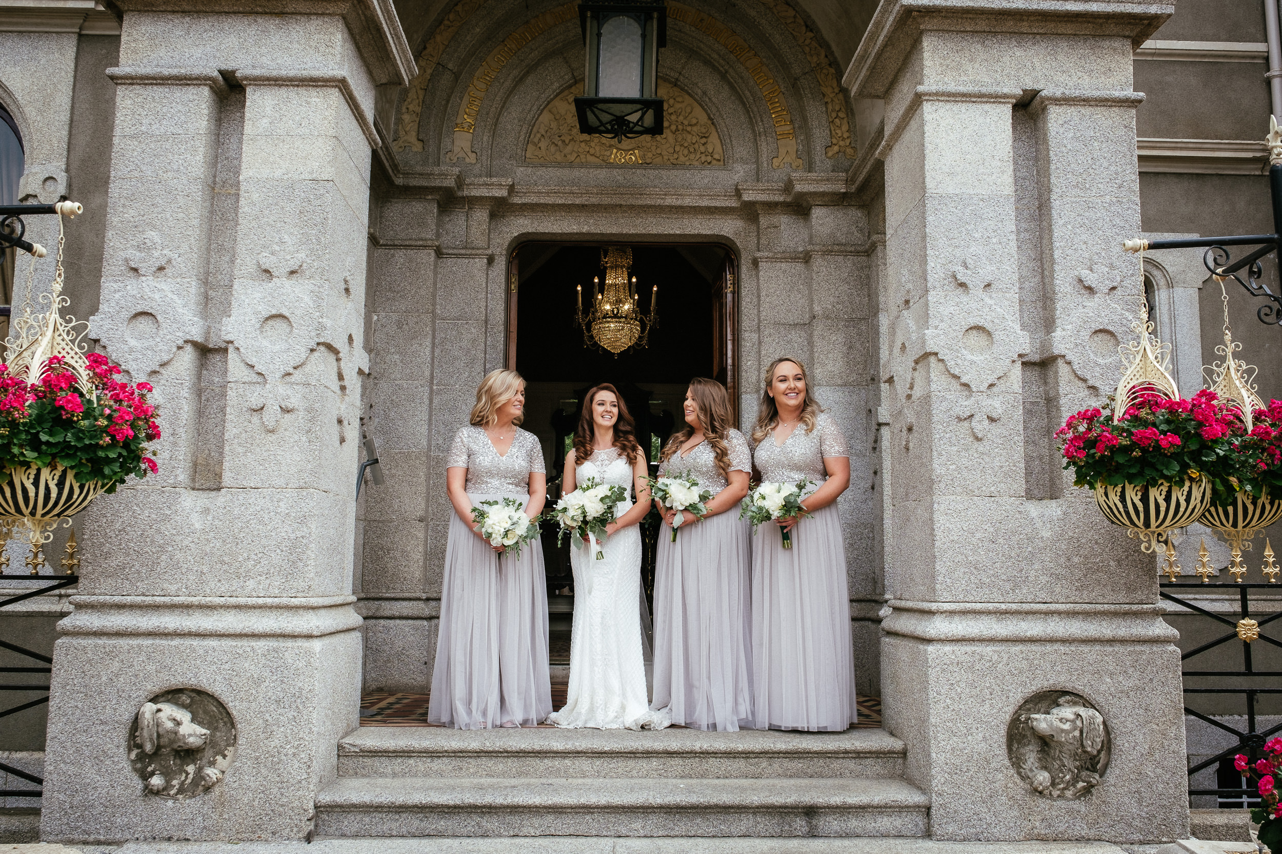 bride and bridesmaids at killashee house hotel wedding