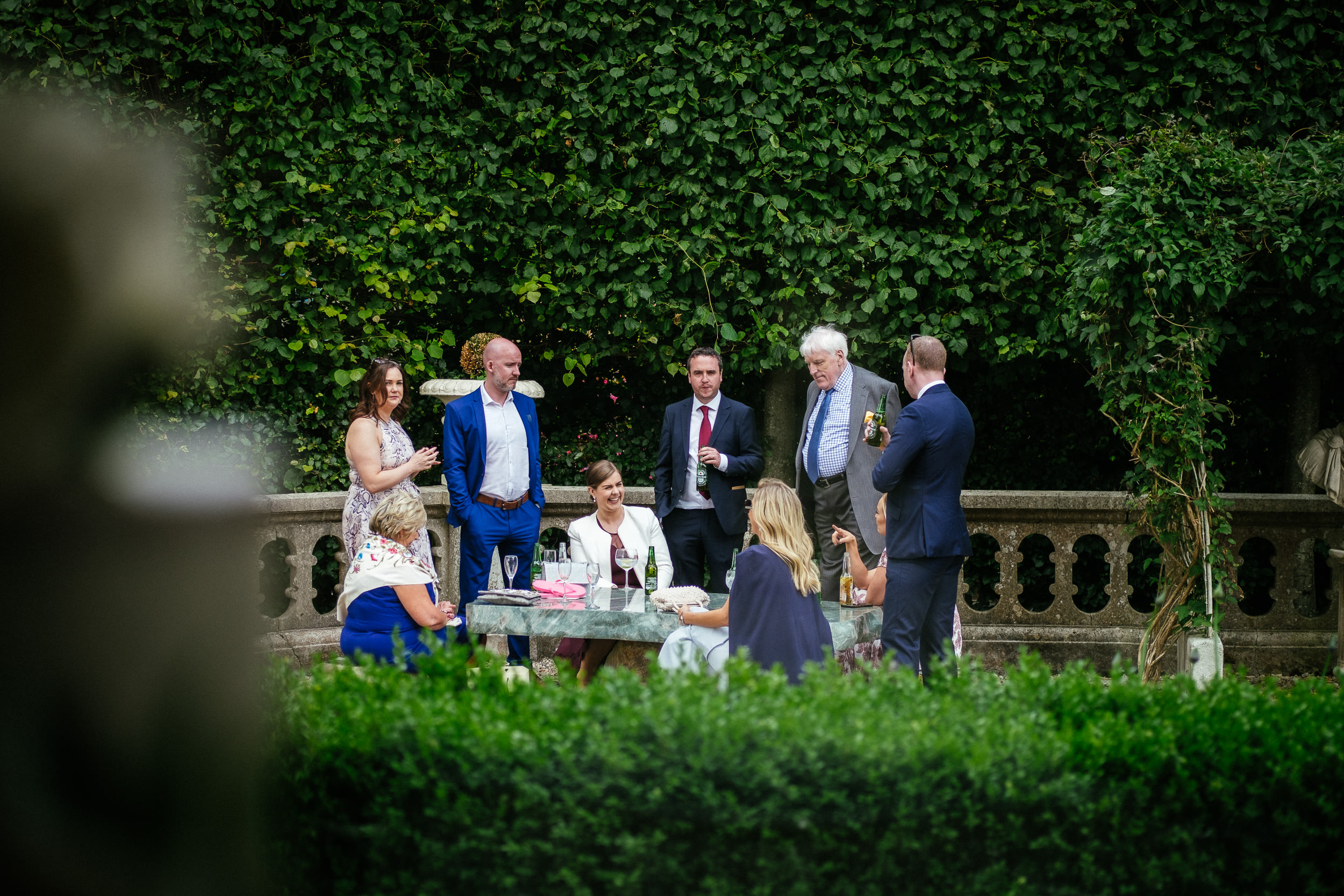 wedding guests outside at killashee house hotel wedding
