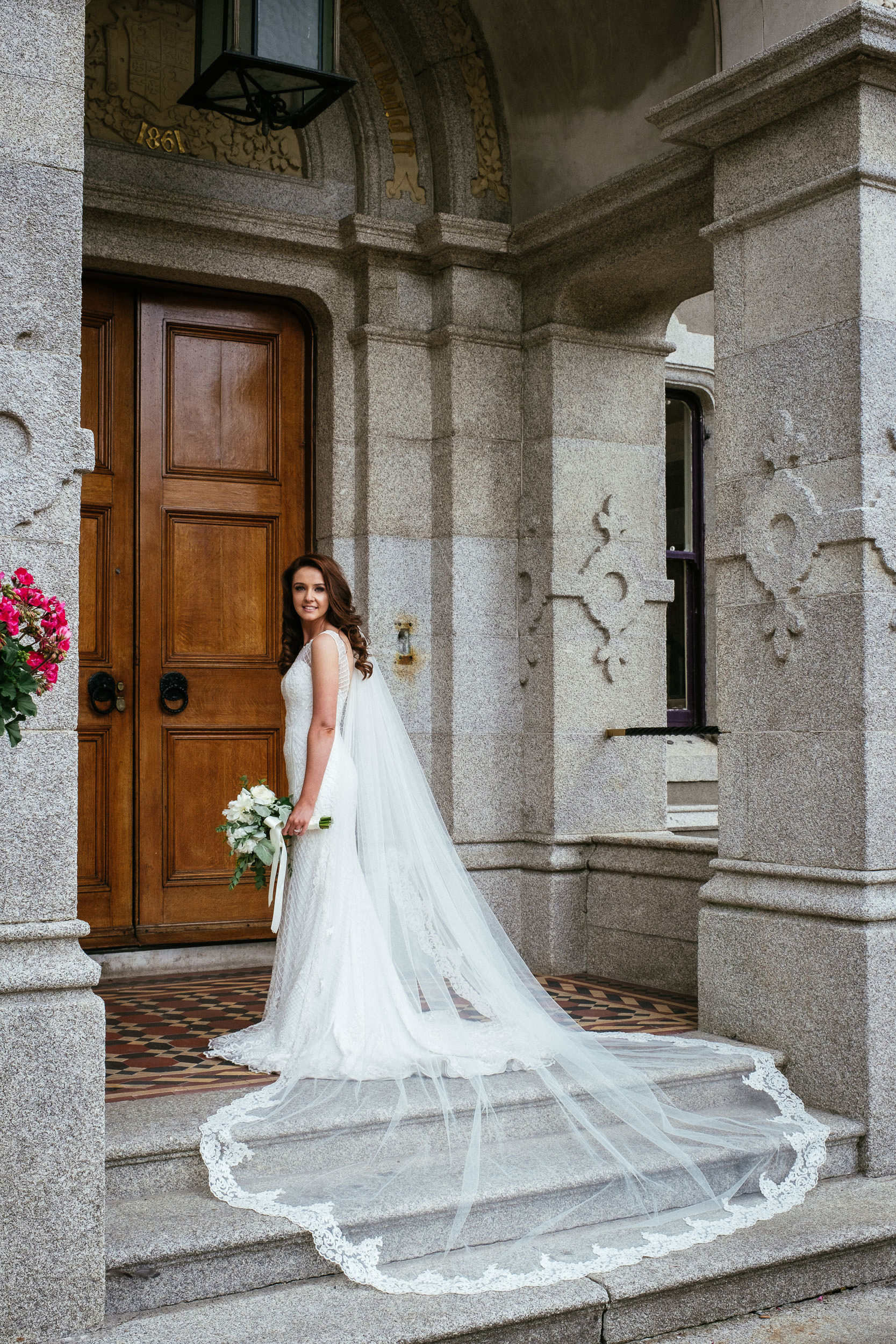 bridal portrait at front door at killashee house hotel wedding