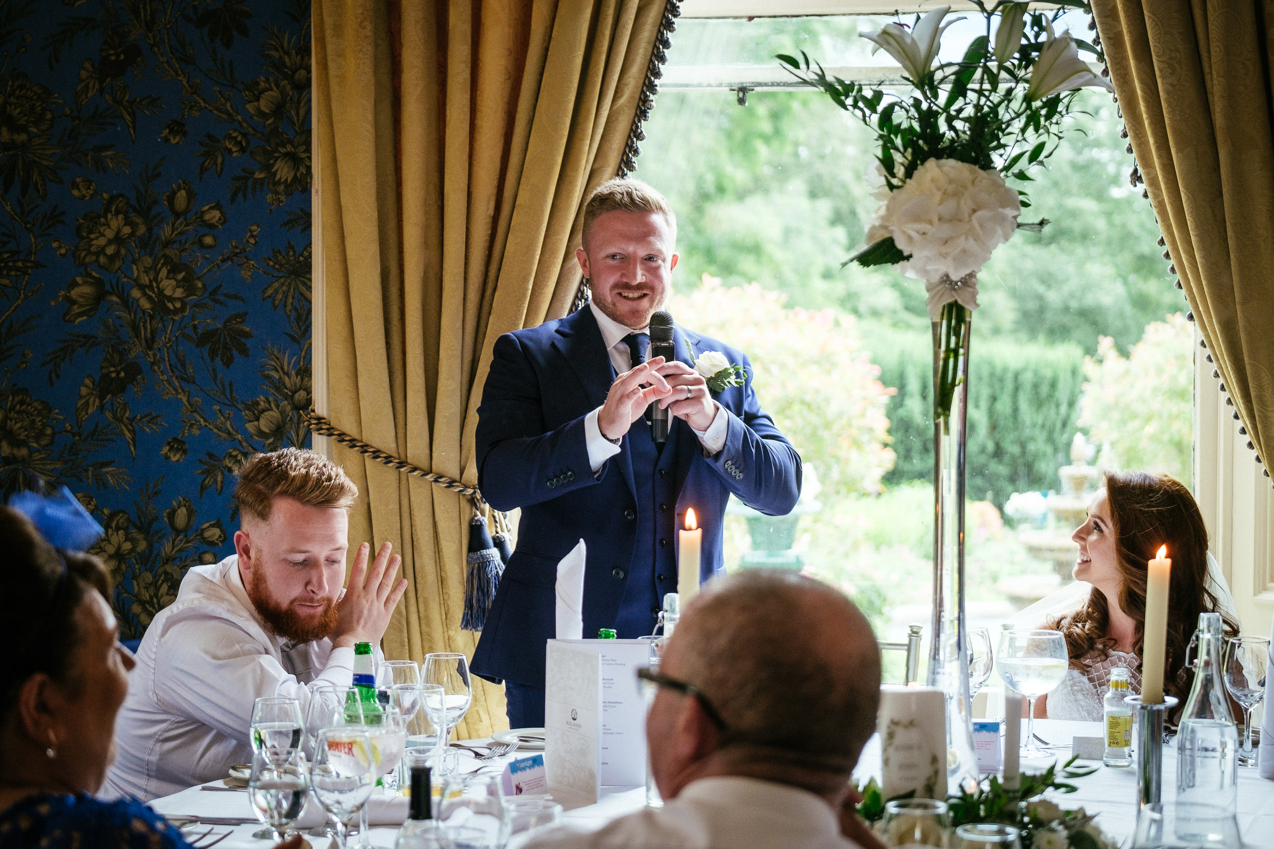 groom making a speech at killashee house hotel wedding