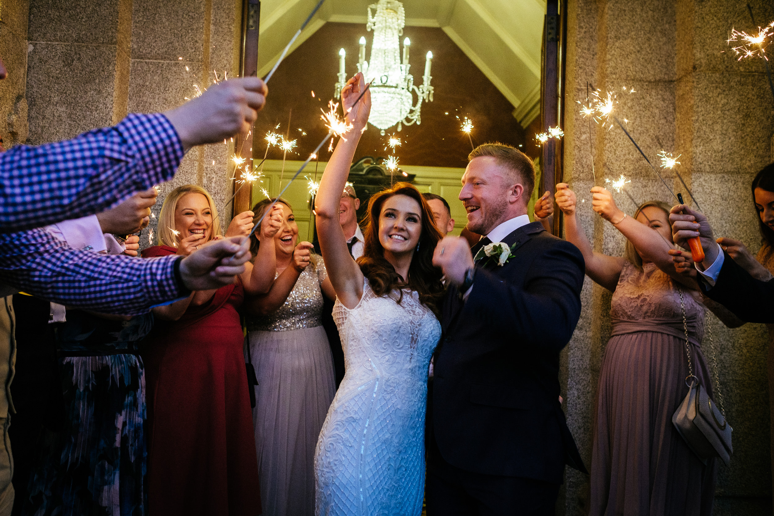 bride and groom and guest with sparklers at killashee house hotel wedding