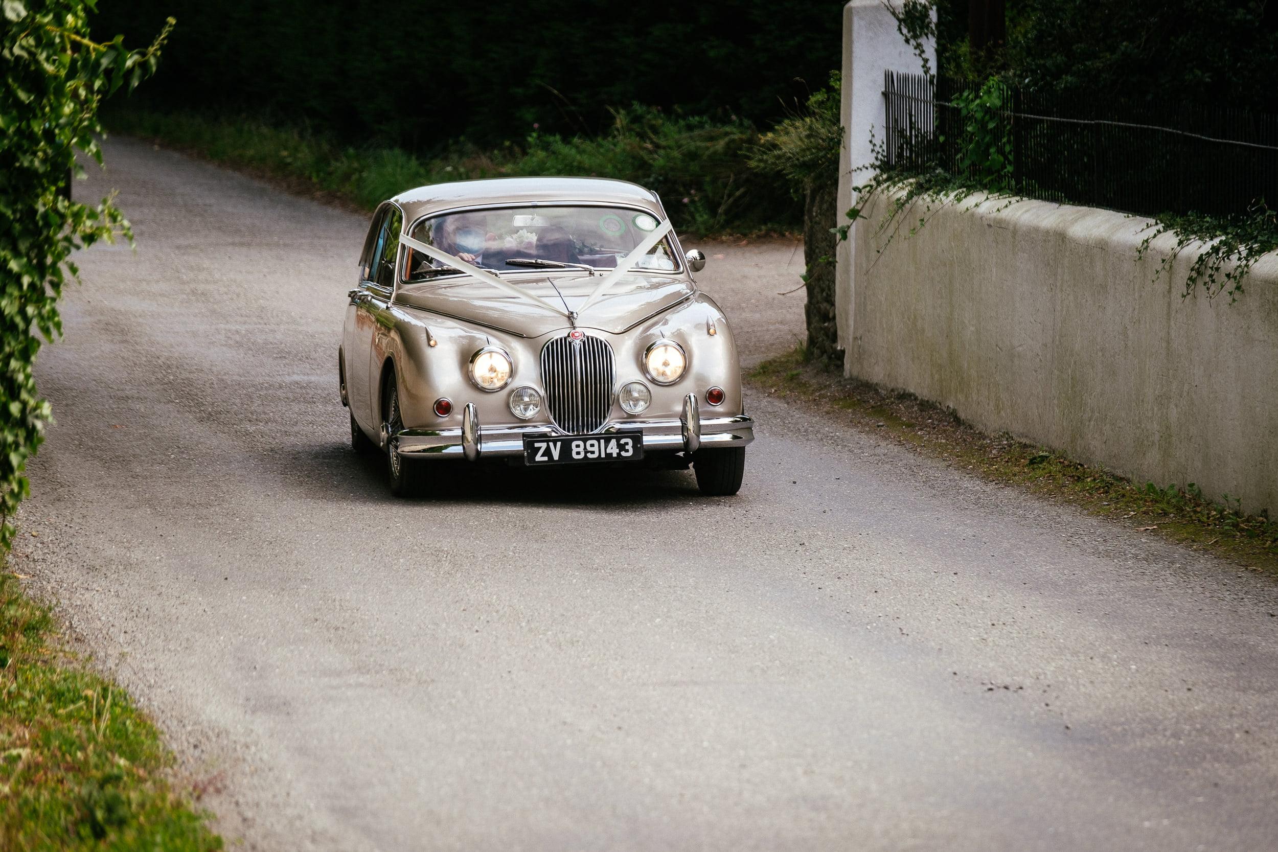 wedding car arriving at St. Patrick's Church, Kilquade