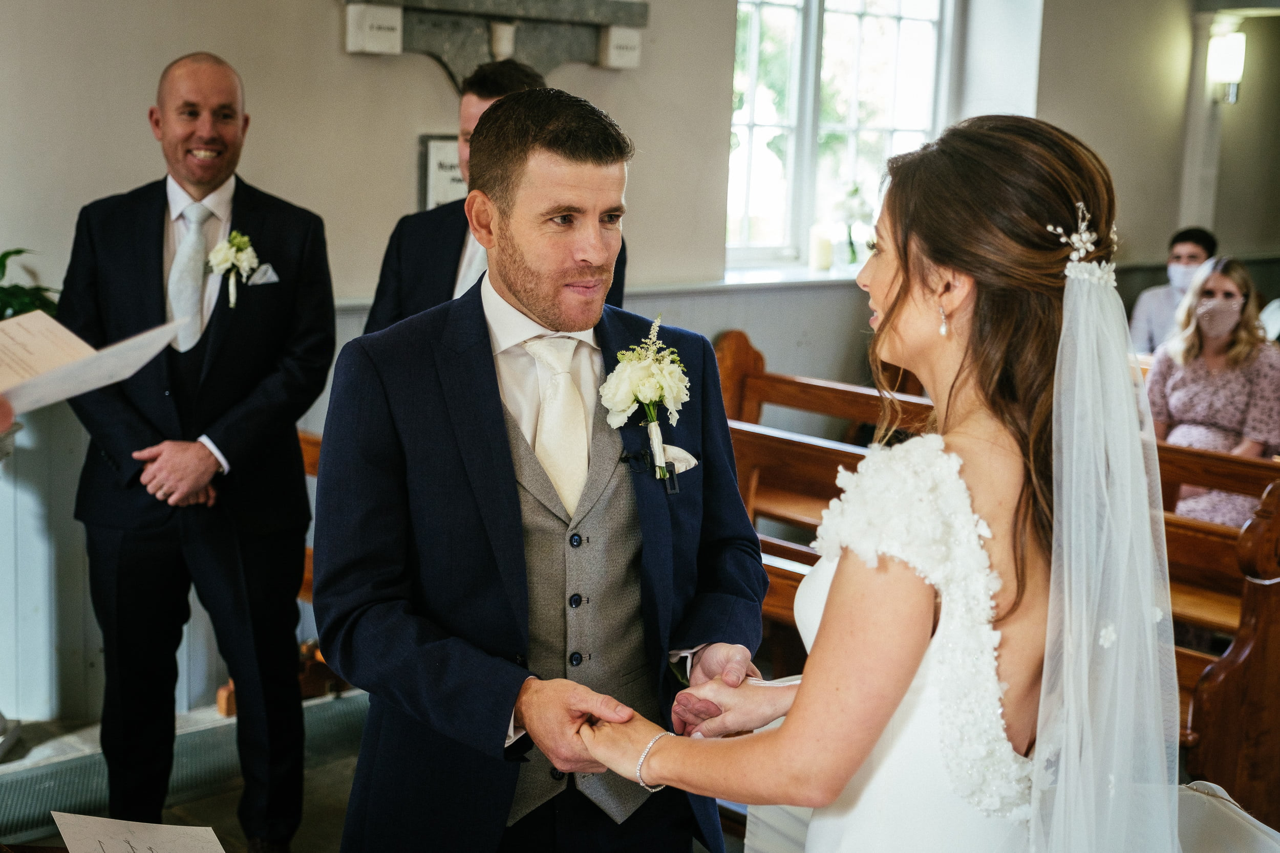 bride and groom at St. Patrick's Church, Kilquade