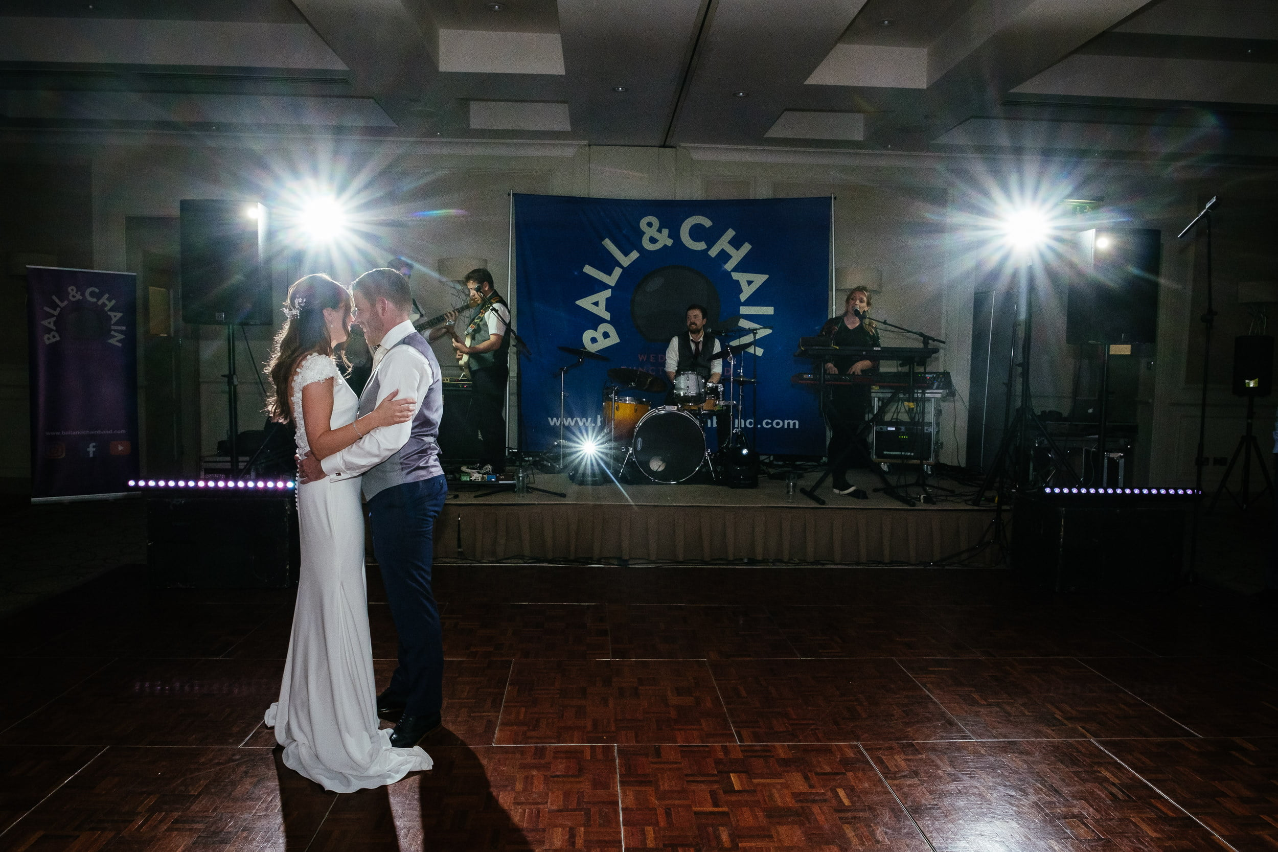 bride and groom first dance at wedding in Druid's Glen Hotel Wicklow