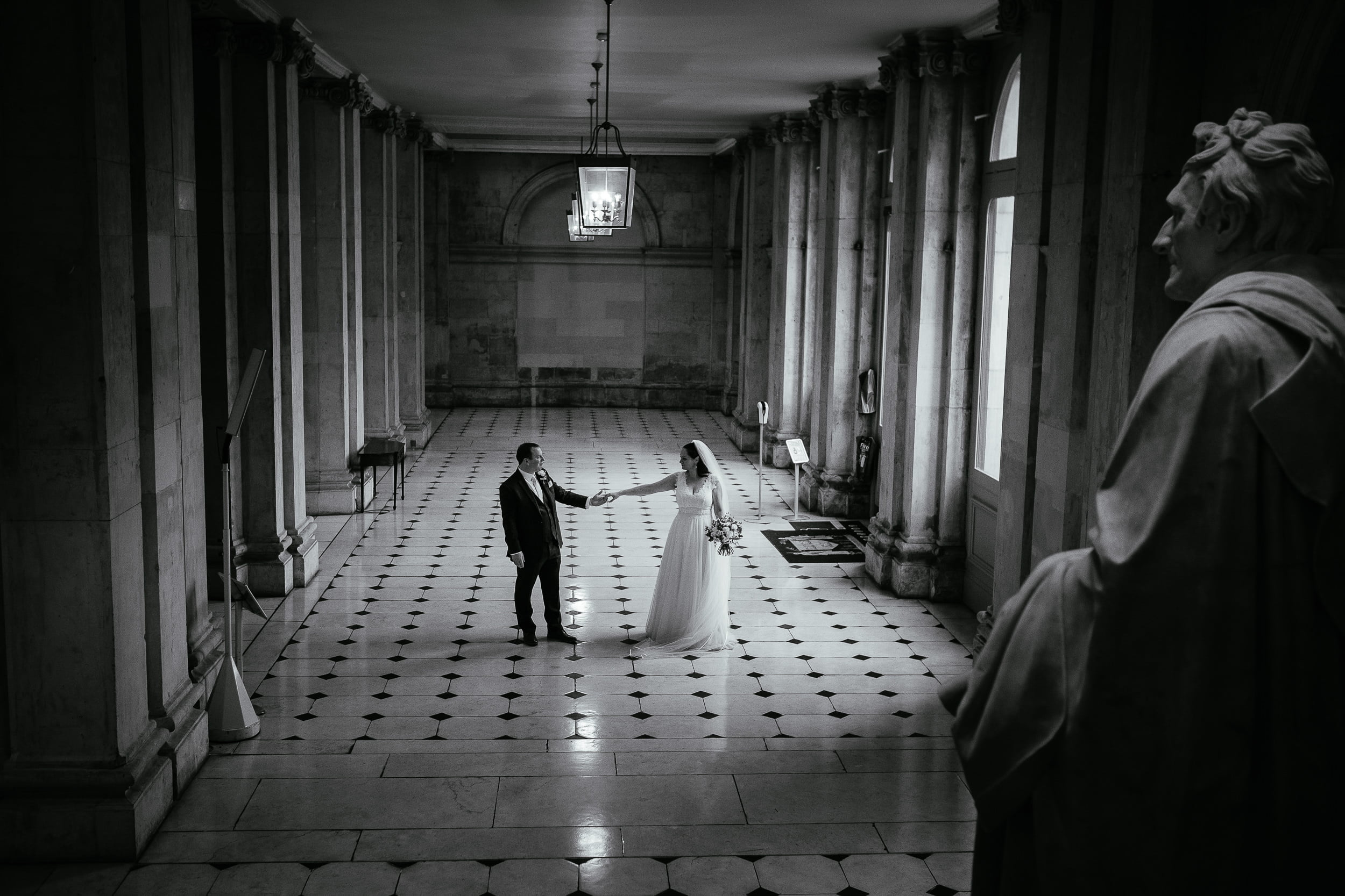 bride and groom dancing in city hall dublin during their intimate wedding