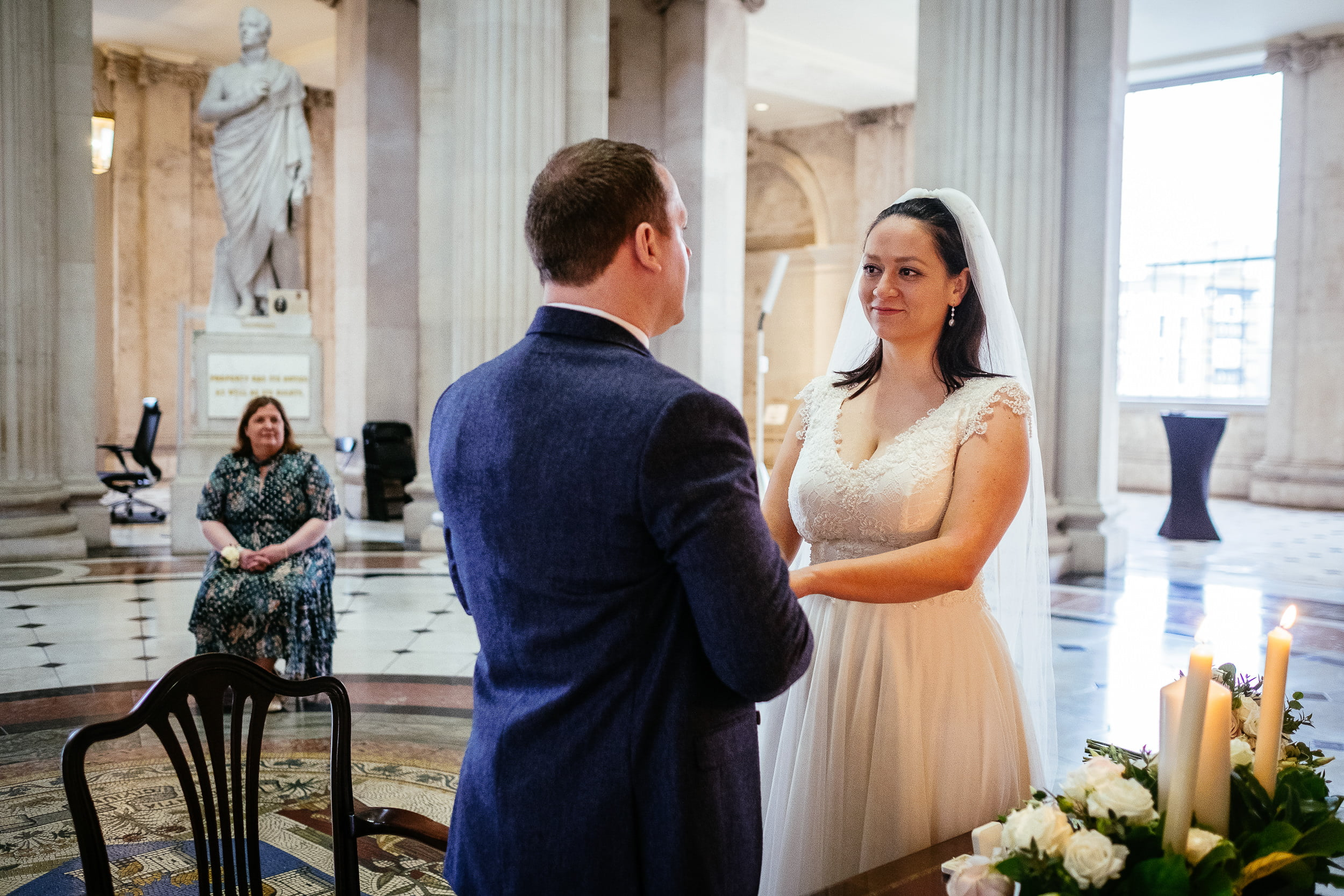 bride and groom exchanging vows at their City Hall Wedding Dublin