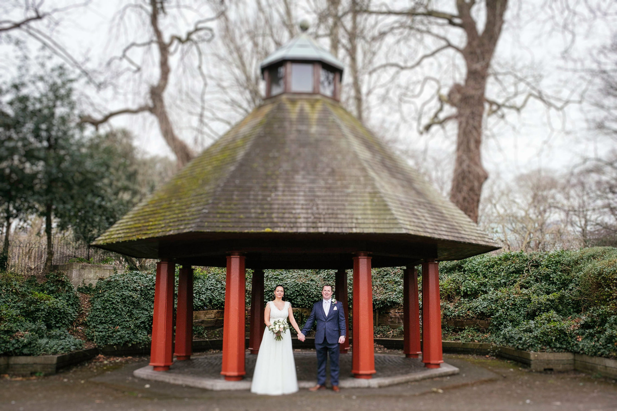 bride and groom in St Stephens Green before their City Hall Dublin wedding