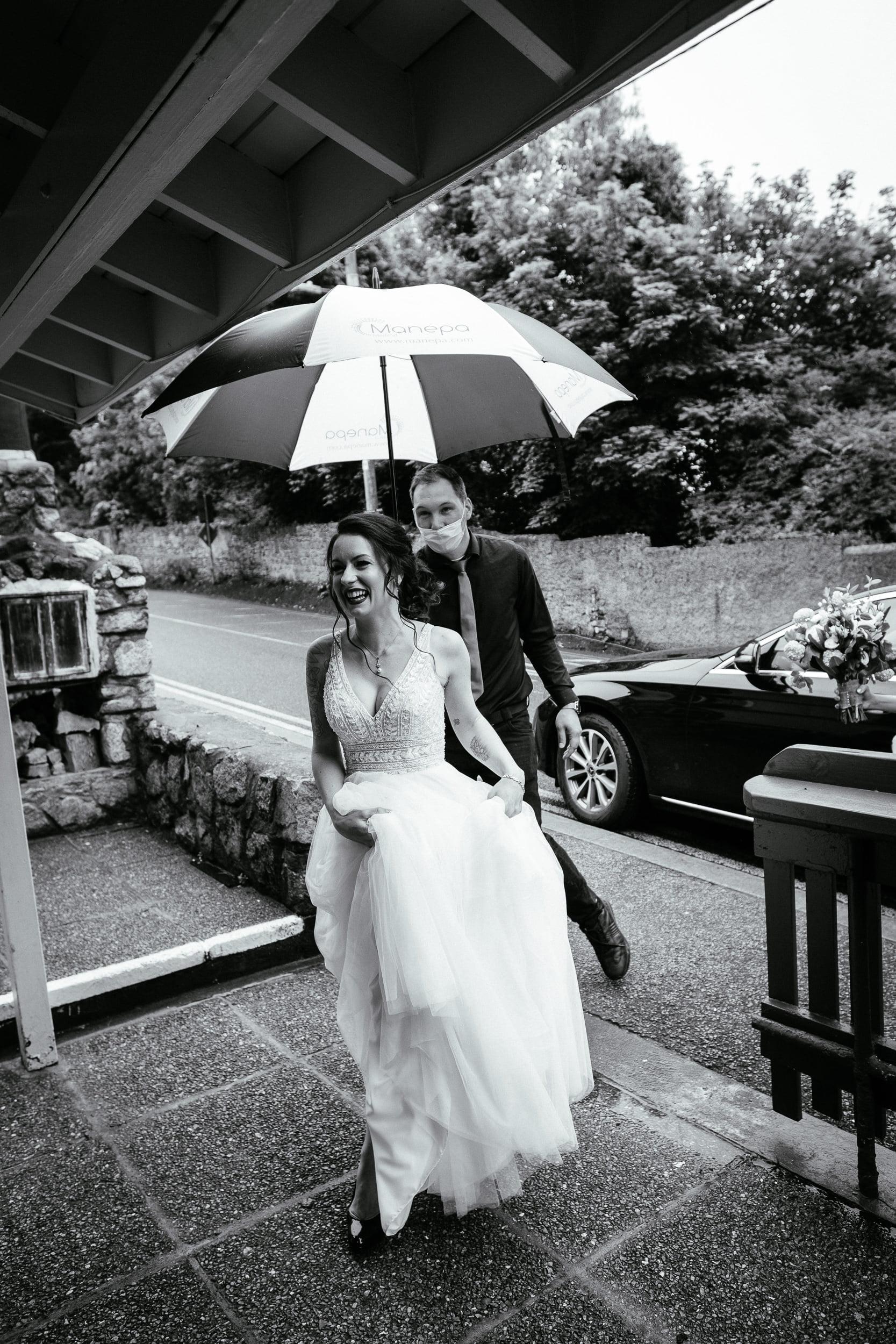 bride arriving for her wedding in anglers rest dublin