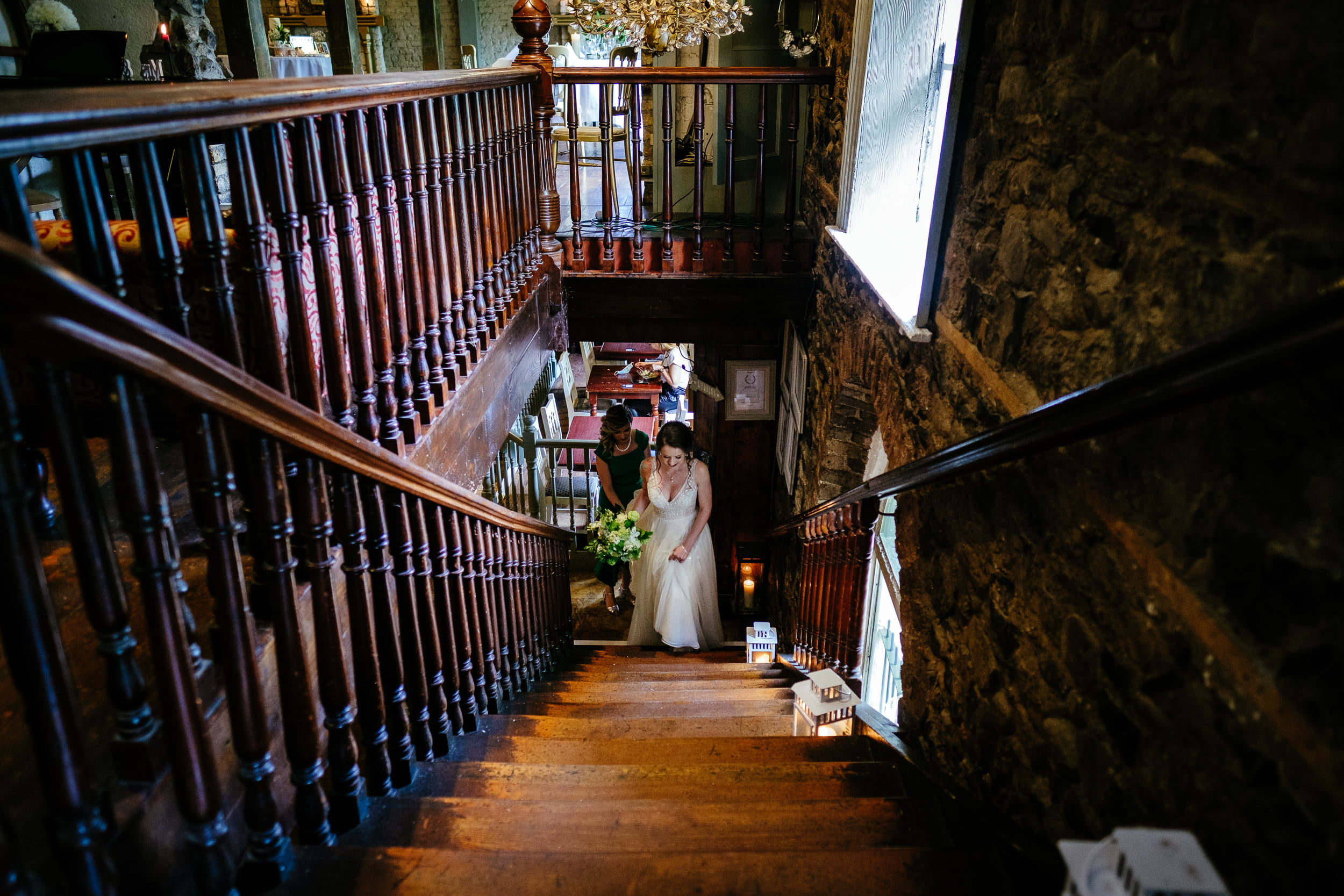 bride walking to her wedding ceremony in anglers rest dublin