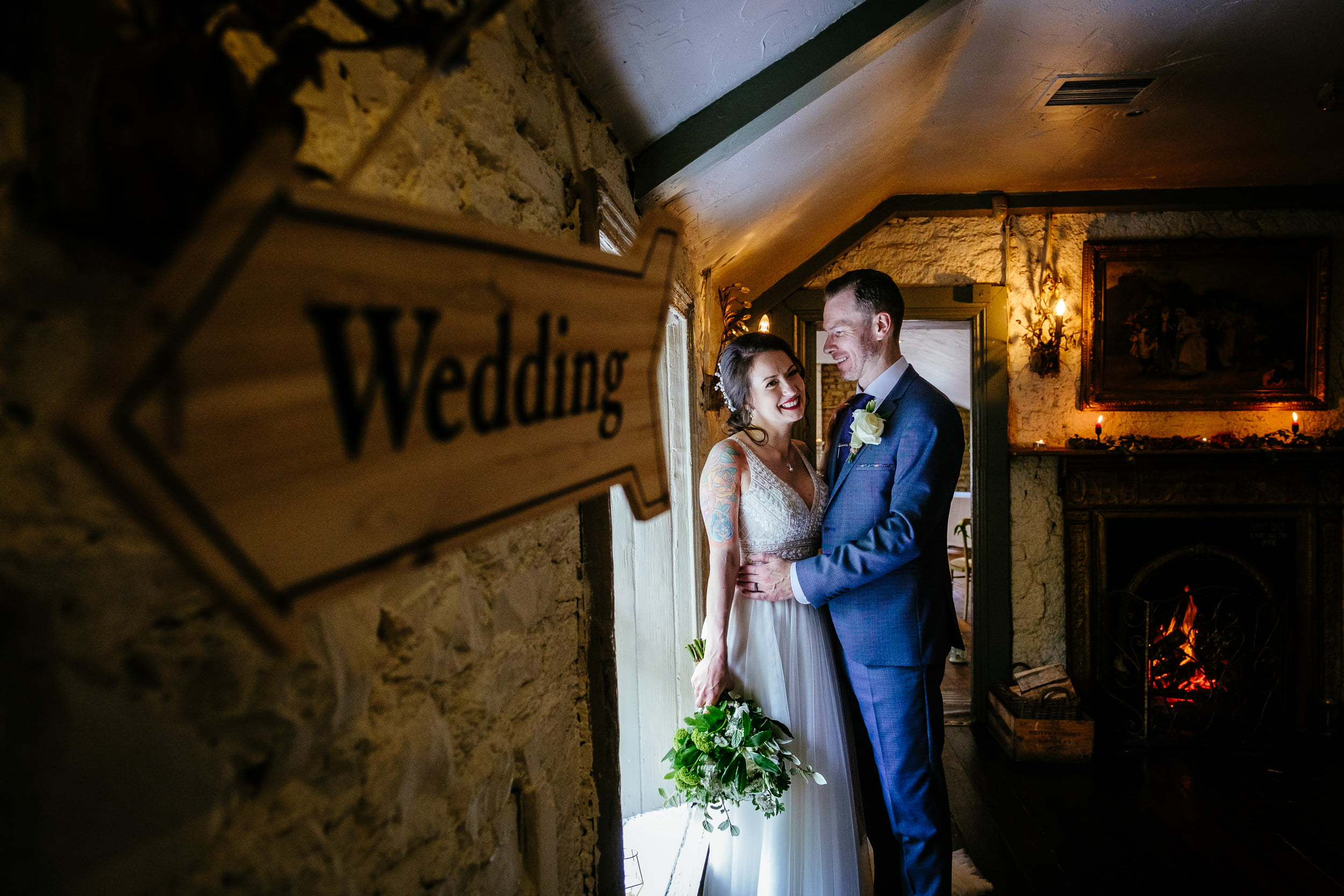 bride and groom embracing in anglers rest dublin