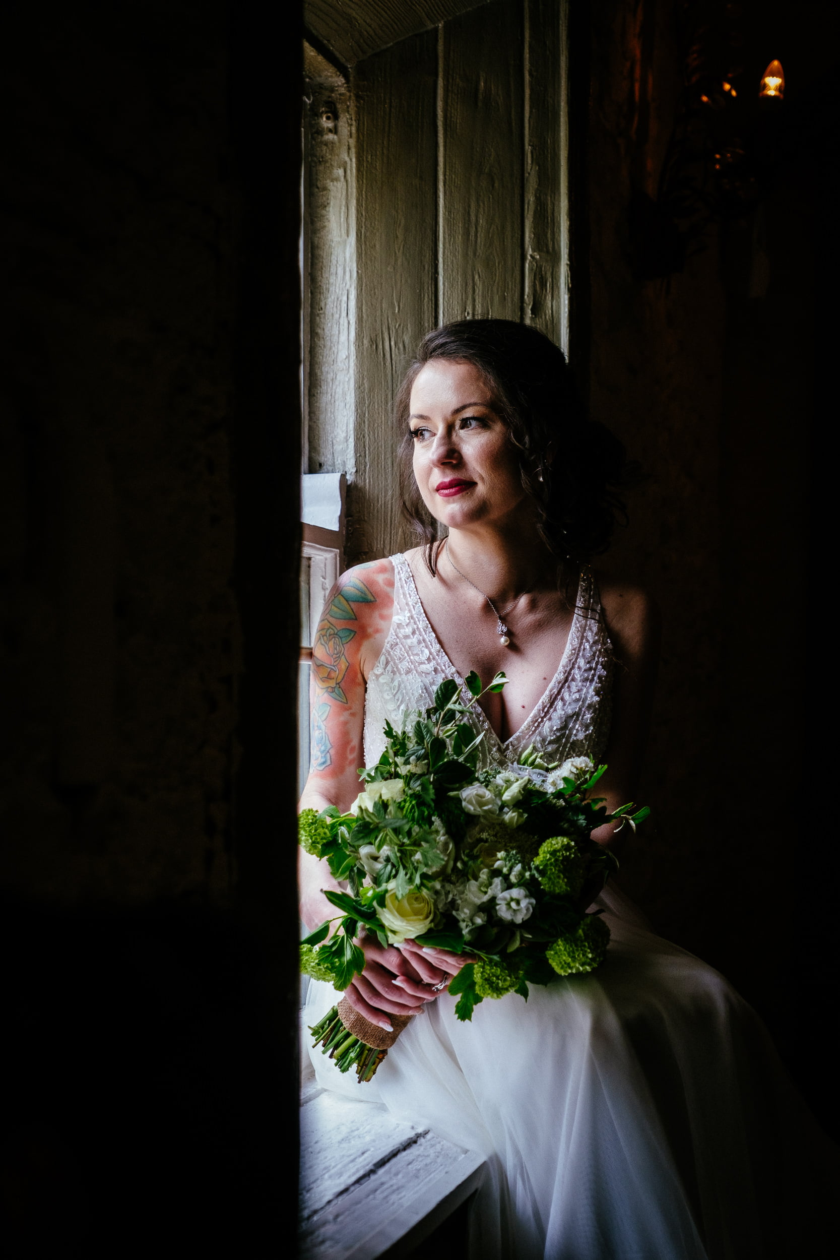 bride sitting by a window in anglers rest dublin