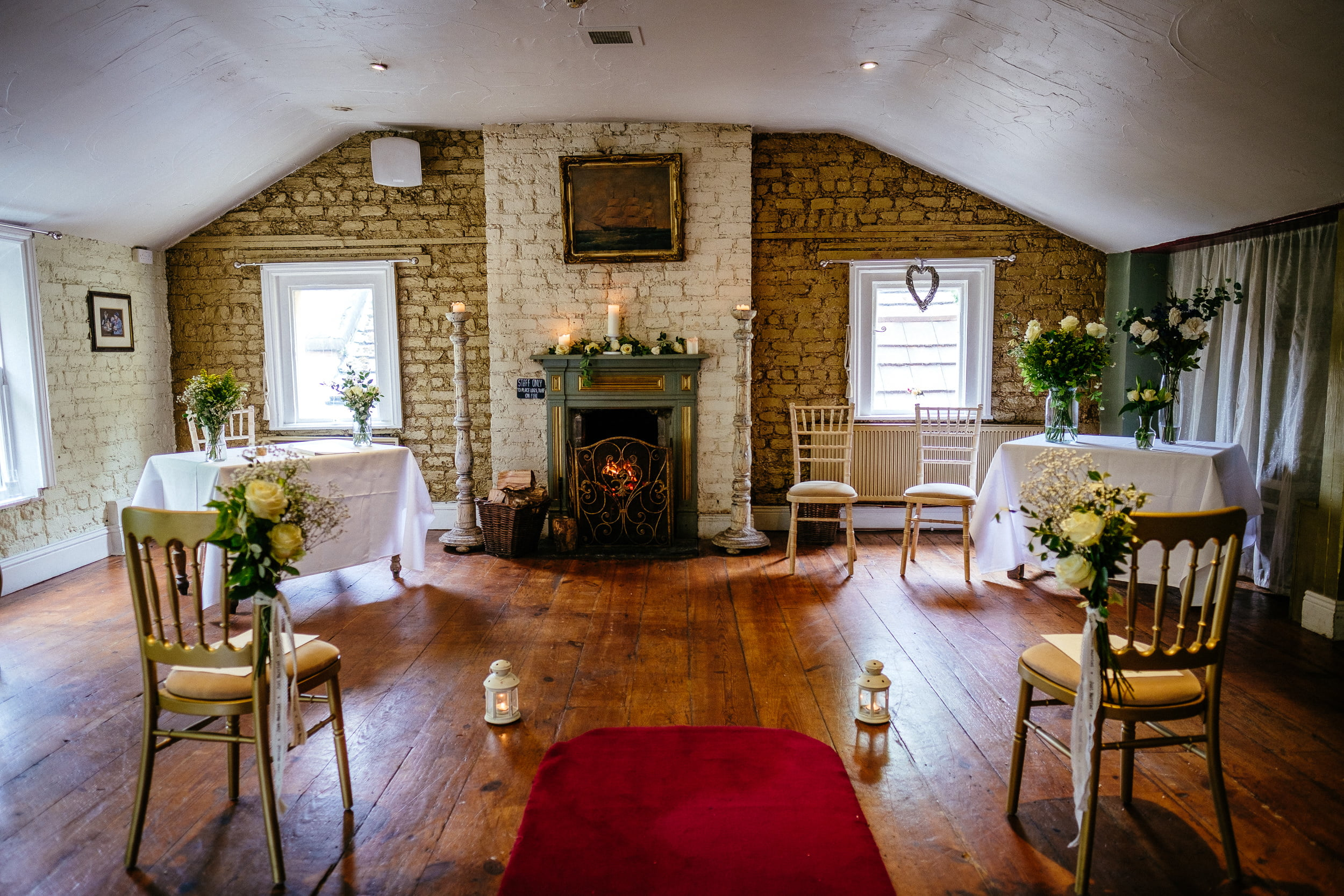 wedding ceremony room at anglers rest dublin
